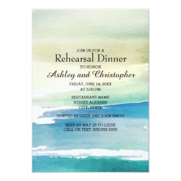 Beach Themed Blue Green Watercolor Ocean  Wedding Rehearsal Card