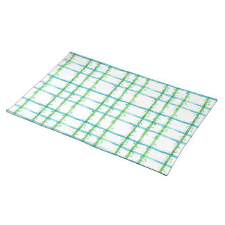 Blue Green Watercolor Plaid Painting Placemats