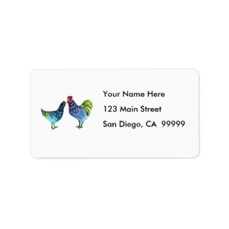 Blue & Green Watercolor Rooster & Hen Address Label