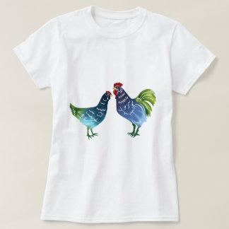 Blue & Green Watercolor Rooster & Hen Tshirt
