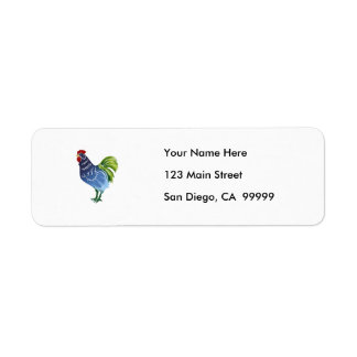Blue & Green Watercolor Rooster Return Address Label