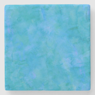 Blue Green Watercolor Texture Pattern Background Stone Coaster