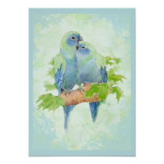Blue & Green Watercolor Tropical Parrot Birds Poster