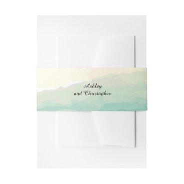 Beach Themed Blue Green Watercolor Wedding Belly Band