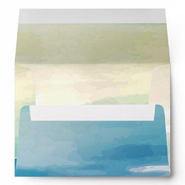 Beach Themed Blue Green Watercolor  Wedding Invitation Envelope
