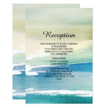 Beach Themed Blue Green Watercolor Wedding Reception Invitation