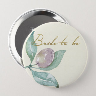 BLUE GREEN WATERCOLOUR FOLIAGE OLIVE BRIDE TO BE PINBACK BUTTON