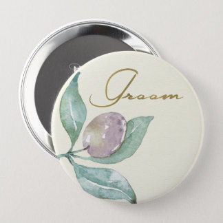 BLUE GREEN WATERCOLOUR FOLIAGE OLIVE GROOM BUTTON