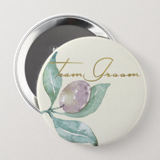 BLUE GREEN WATERCOLOUR FOLIAGE OLIVE TEAM GROOM BUTTON