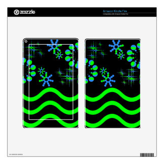 Blue green waves and stars decals for kindle fire