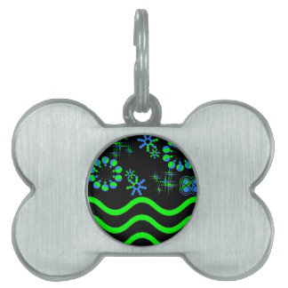 Blue green waves and stars pet name tag