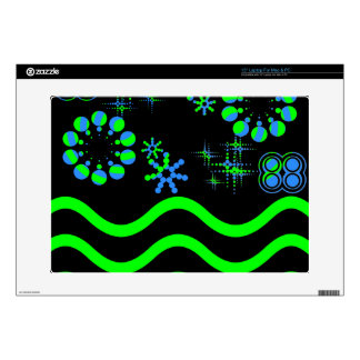 """Blue green waves and stars skin for 15"""" laptop"""