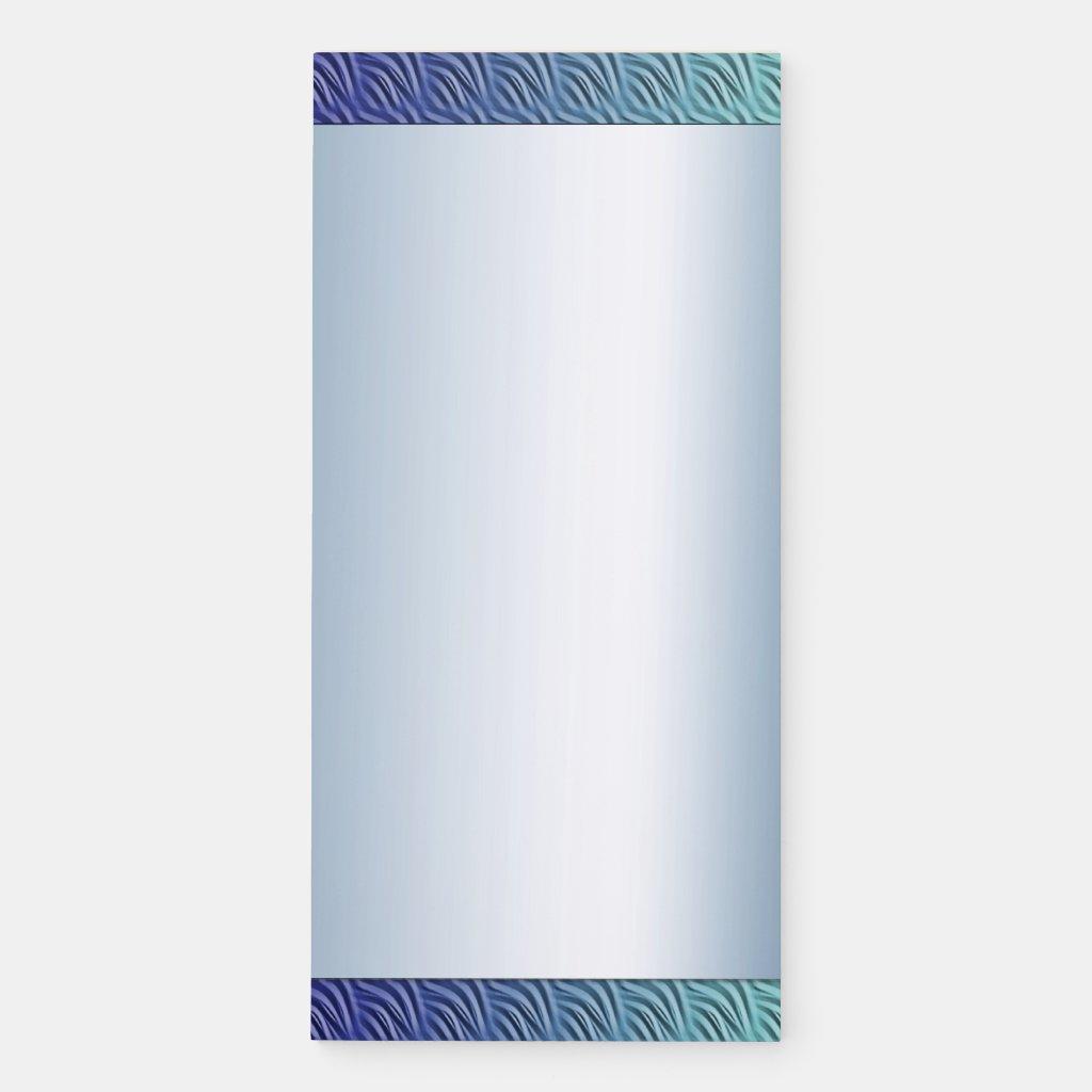 Blue Green Waves Border Magnetic Fridge Notepad