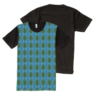 Blue & Green Weave All-Over-Print T-Shirt