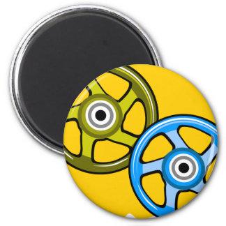 Blue & Green Wheels 2 Inch Round Magnet