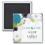 Blue & Green Whimsical Floral Save the Date Magnet