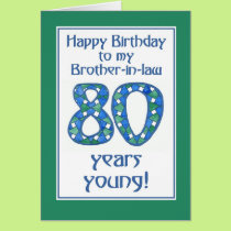 Blue, Green, White 80th Birthday Brother-in-law Card