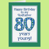 Blue, Green, White 80th Birthday Godfather Card