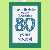 Blue, Green, White 80th Birthday Godmother Card