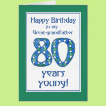 Blue, Green, White 80th Birthday Great-grandfather Card