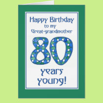 Blue, Green, White 80th Birthday Great-grandmother Card