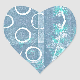 Blue Green White Abstract Heart Sticker