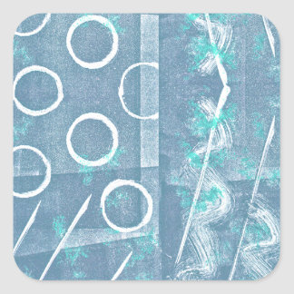 Blue Green White Abstract Square Sticker