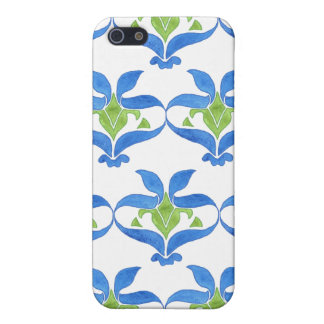 Blue, Green, White Art Nouveau 4 Cover For iPhone SE/5/5s