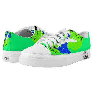 Blue Green White Black Color Run Printed Shoes