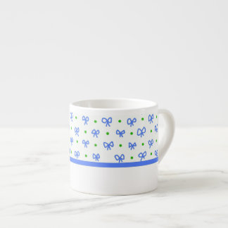 Blue/Green/White Bows Mini-print Espresso Mug