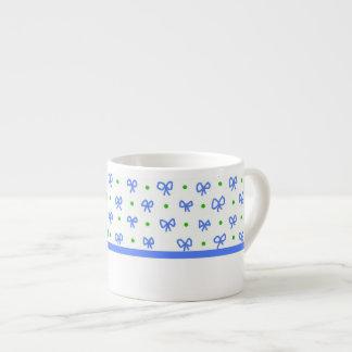 Blue/Green/White Bows Mini-print Espresso Mug 6 Oz Ceramic Espresso Cup