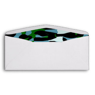 Blue Green White Cheetah Abstract Envelope