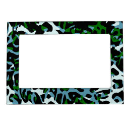 Blue Green White Cheetah Abstract Magnetic Frame