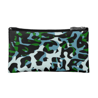 Blue Green White Cheetah Abstract Makeup Bag