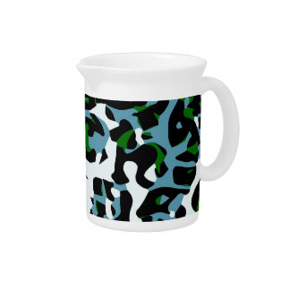 Blue Green White Cheetah Abstract Pitcher