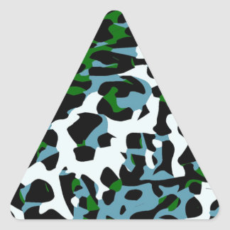 Blue Green White Cheetah Abstract Triangle Sticker