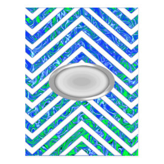 Blue Green White Chevron Zig Zag Pattern Postcard