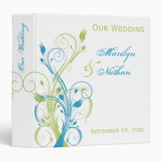 Blue Green White Floral Wedding Binder