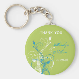 Blue Green White Floral Wedding Favor Key Chain