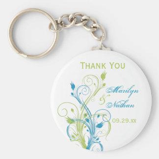 Blue Green White Floral Wedding Favor Key Chain