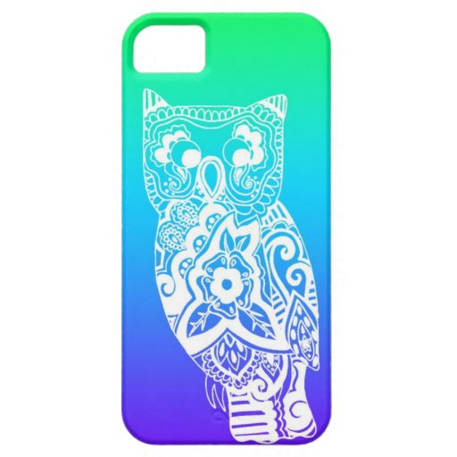 Blue & Green White Owl iPhone 5 Cases