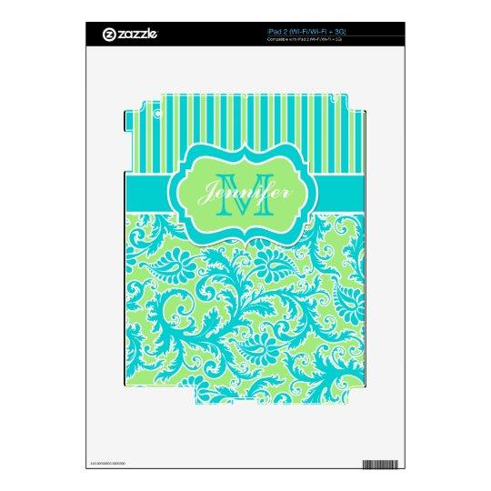 Blue Green White Striped Damask iPad 2 Skin