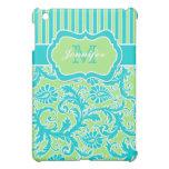 Blue, Green, White Striped Damask  iPad Mini Covers