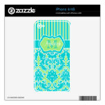 Blue Green White Striped Damask iPhone 4/4s Skin Decals For The iPhone 4