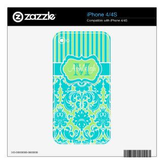 Blue Green White Striped Damask iPhone 4/4s Skin iPhone 4S Skin