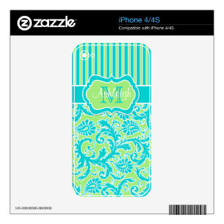Blue Green White Striped Damask iPhone 4/4s Skin iPhone 4 Skins
