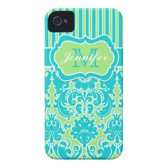 Blue, Green, White Striped Damask iPhone 4 iPhone 4 Case
