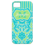 Blue, Green, White Striped Damask iPhone 5 iPhone 5 Covers