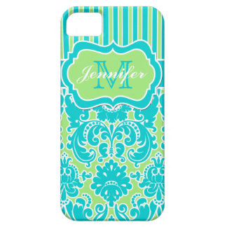 Blue, Green, White Striped Damask iPhone 5 iPhone SE/5/5s Case