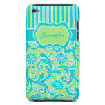 Blue, Green, White Striped Damask iPod Touch Case